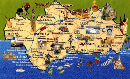 Andalucia Postcard Map 1