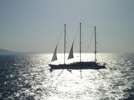 Aegean sea Boat at Sunset