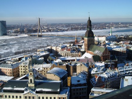 latvia Riga Snow covered roofs