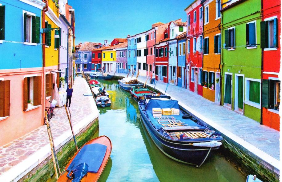bright, colourful houses along venice canal
