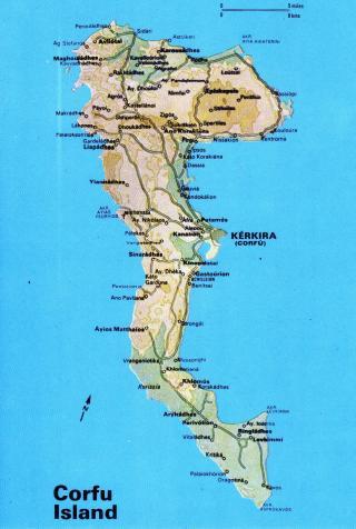 Corfu Postcard Map