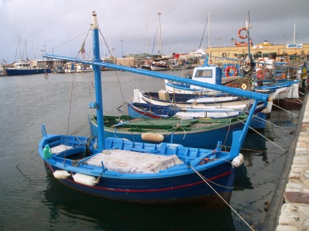 Alghero sardinia small fishing boats