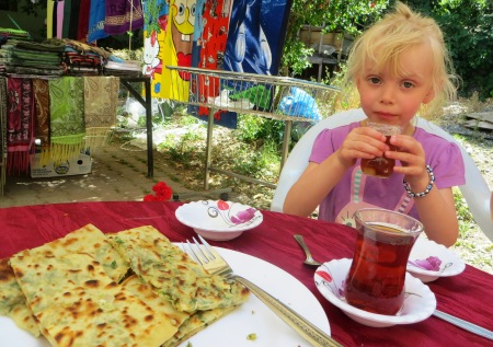 Mint Pancakes and Turkish Tea Sarigerme Market